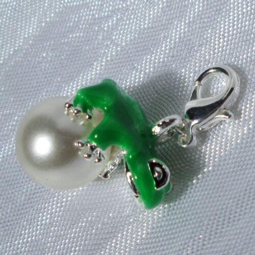 1 charm AU CHOIX grenouille argenté verte breloque sur mousqueton métal argenté