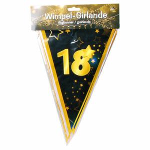0.60€//1m Bunte Geburtstags Wimpel Girlande 18 Jahre Party Deko Geburtstag