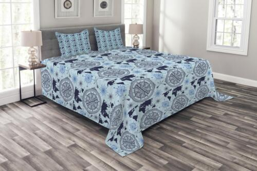 World Map Arrow Pattern Print Details about  /Compass Quilted Bedspread /& Pillow Shams Set