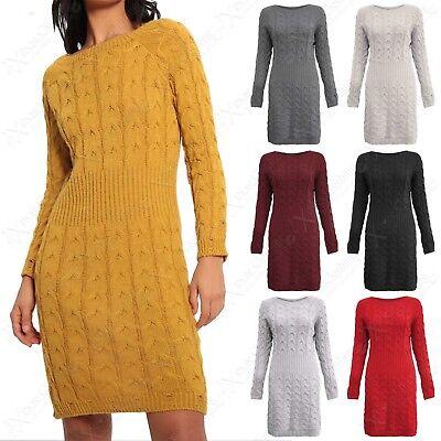 Sonnig New Women Cable Rib Knit Jumper Dress Ladies Long Midi Warm Stretchy Sweater Top