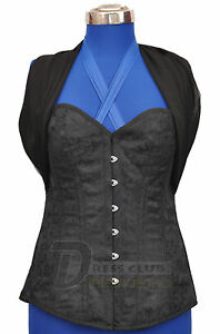 Authentic Steel Boned Lace Up Black Brocade Overbust Long Torso Corsets Bustier