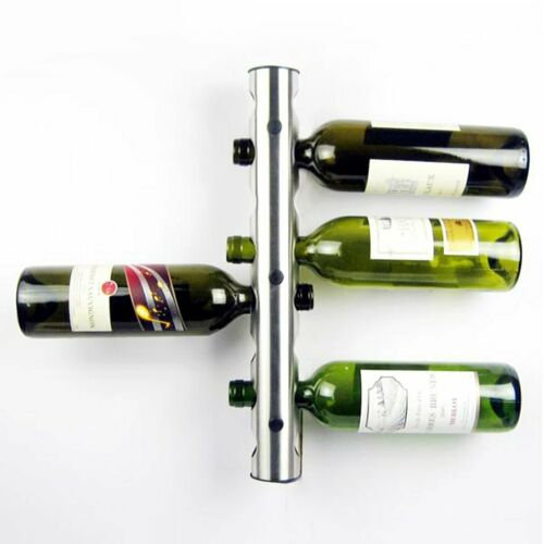 Stainless Steel Wine Rack Bar Wall Mounted Kitchen Holder Hanger 8 Bottles TO
