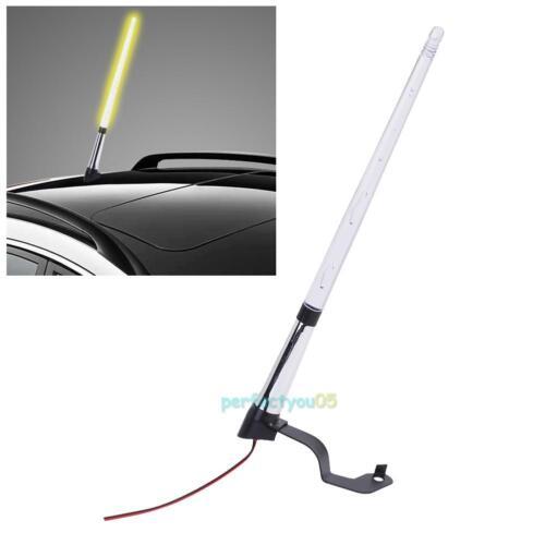Universal Car External Amber Light Antenna Flag Pole LED Light FM Signal Booster