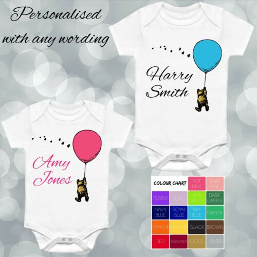 CLASSIC WINNIE THE POOH BALLOON DISNEY STYLE PERSONALISED VEST BABY GROW GIFT