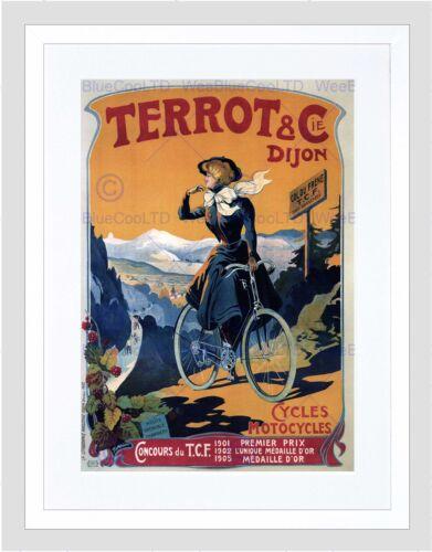 TERROT CYCLES FRANCE VINTAGE ADVERT RETRO WALL BLACK FRAMED ART PRINT B12X538