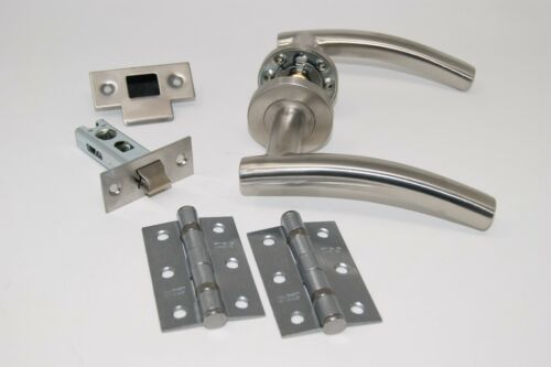 C//w Hinges Satin Stainless Steel Latch Set 5 X Arched Door Handle Pack