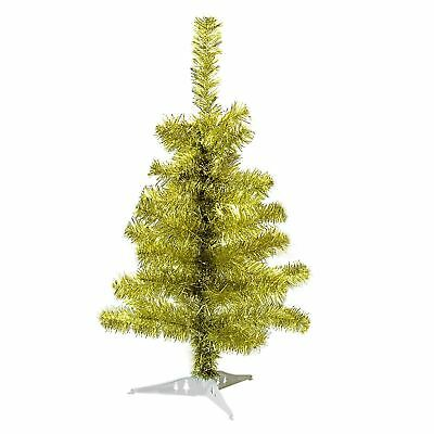 Gold Christmas Tree Xmas Artificial Traditional Pine Small With Stand 2ft 60cm