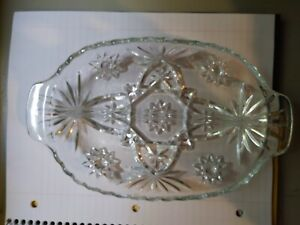 Vintage-Glass-Clear-Divided-Star-Pattern-Pickle-Relish-Dish