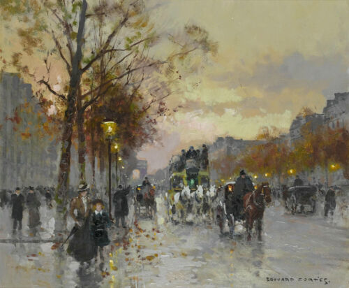 Edouard Cortes Oil painting Paris Street Art Wall Prints on Canvas Scenery Decor