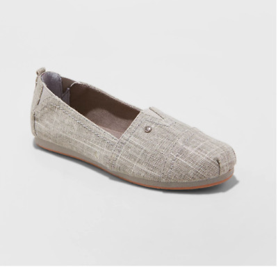 8137 Youth Girls/' MAD LOVE Sommer Slip on Canvas Shoe sz 13  Silver