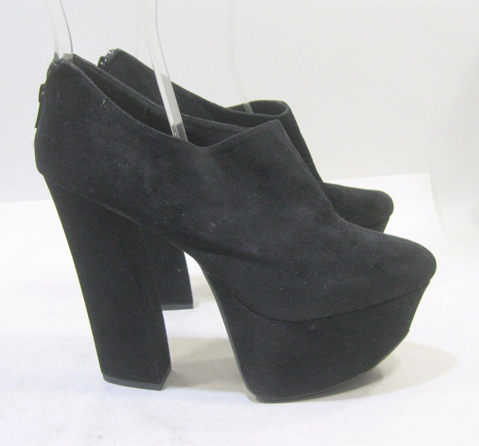 Black 5.5  Block High Heel 2  Platform Round Toe Sexy Ankle Boot Size 8