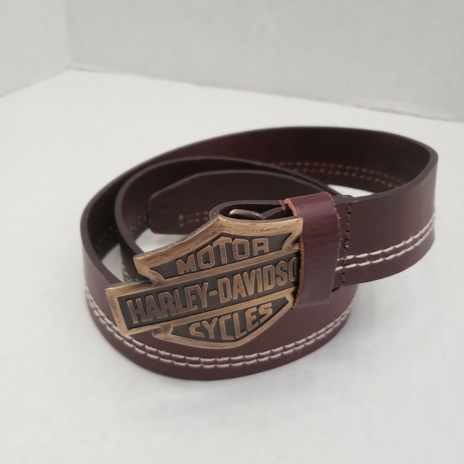 Harley Davidson Mens Motorcycle Leather Brown Stitch Belt & Buckle Logo 36