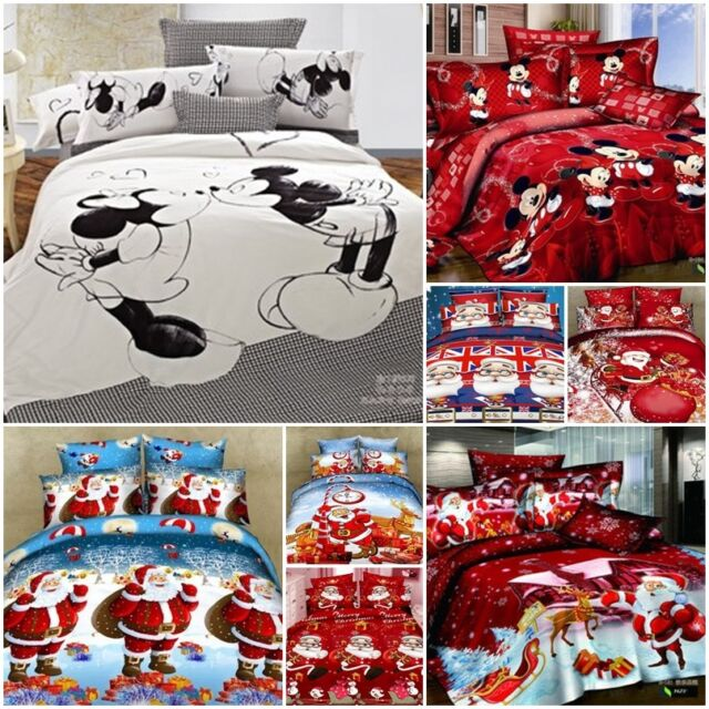 UK Christmas mickey Mouse King Double Size Cotton Quilt Duvet Cover Bed Set A+++