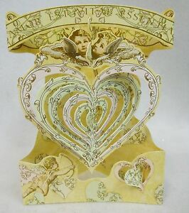 LOVE with HEARTS / CHERUBS Greeting Card 3-D  Swing Card by Santoro Graphics 127