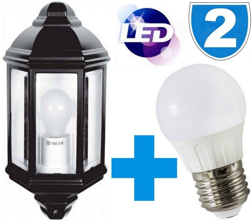 2 X Traditionell 5W Außen LED Tageslicht Lampe Wand Garten Kutsche Halb Laternen