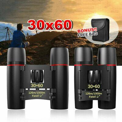 Portable Mini Binoculars 30x60 Zoom Outdoor Travel Folding Telescope With Bag MN
