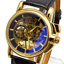 Winner Automatic Stainless Steel Skeleton Leather Watch Gold & Blue Colour - New