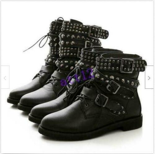 Womens Punk Gothic Buckle Strap Lace Up Studded Combat Ankle Boots Shoes Rivets