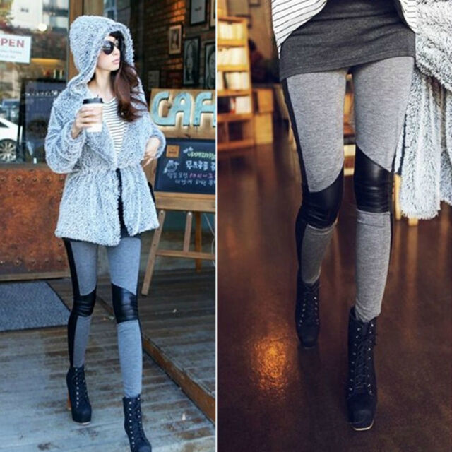 Fashion Sexy Women's Stitching Stretchy Faux Leather Black Leggings Pants