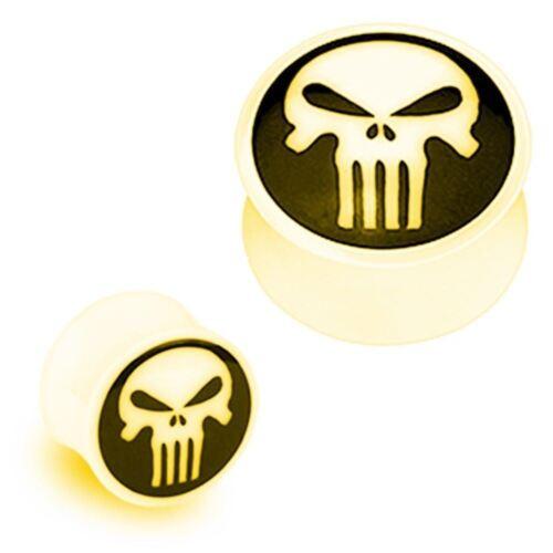 PAIR-Bone w//Black Punisher Horn Saddle Flare Ear Plugs 06mm//2 Gauge Body Jew