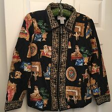Victor Costa SILK Yorkie Quilted DOG Scarf Print Jacket Sz SM Gold Evening S