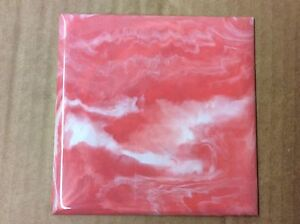 VINTAGE Coral Marble PLASTIC TILE 4 14 wall bathroom kitchen