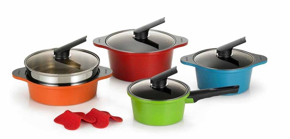 Happycall Alumite Ceramic Pots Die Casting Ceramic Coating Kitchenware 4 Set