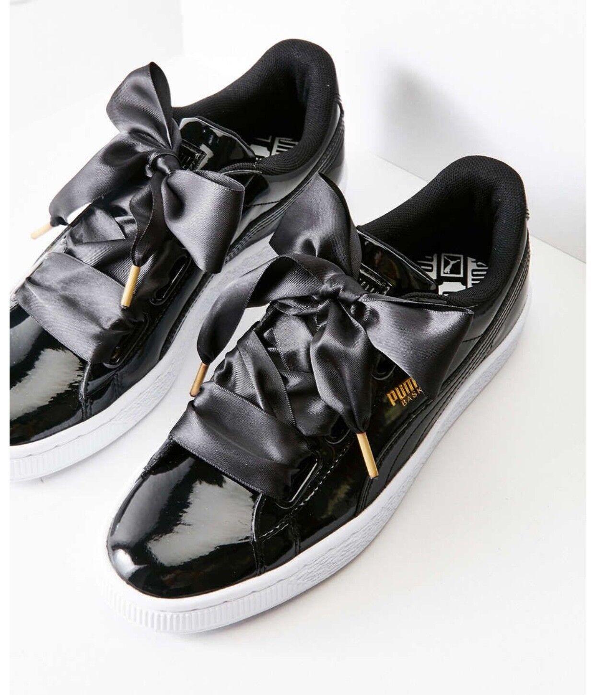 NIB Puma Puma Puma Basket Heart Patent Leather Womens Sneakers BLACK size 77.588.5 92ddf1