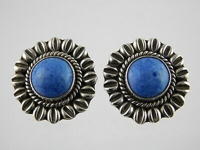 Mexico Denim Lapis Sterling Silver Earrings Pendant Necklace Set