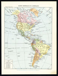 graphic relating to Printable Map of North and South America called Data above Antique Map-Print-NORTH-SOUTH The united states-Gown-INDIANS-Mother nature-Larousse-1897