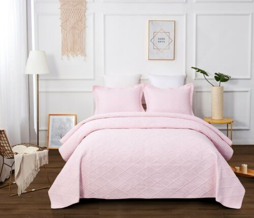 Coverlet Quilt 100/% Cotton No Polyester Bedspread KING SINGLE LIGHT PINK DIAMOND