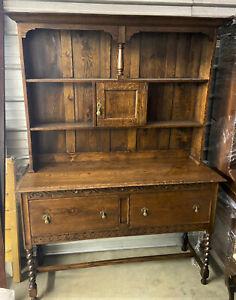 Antique-English-Welsh-Tiger-Oak-Dresser-China-Cupboard-Farmhouse-Hutch-WE-SHIP