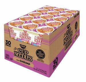 30CT-Cup-Noodles-Ramen-SHRIMP-SEAFOOD-Flavor-Nissan-Instant-Lunch-2-5oz-NO-MSG