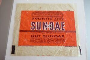 VINTAGE OLD candy bar wrapper Hollywood 1940's SUNDAE NUT  Centralia IL
