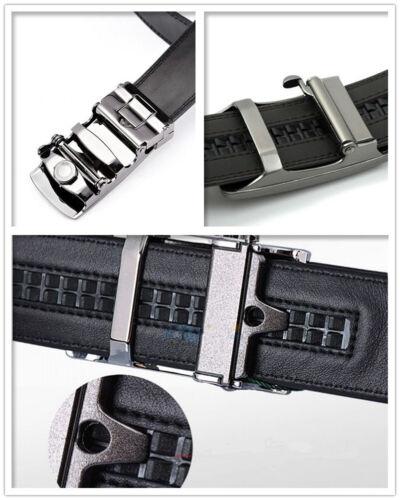 Mens Black Dress Fashion Black Leather Belt Ratchet Automatic Buckle Men/'s Belts