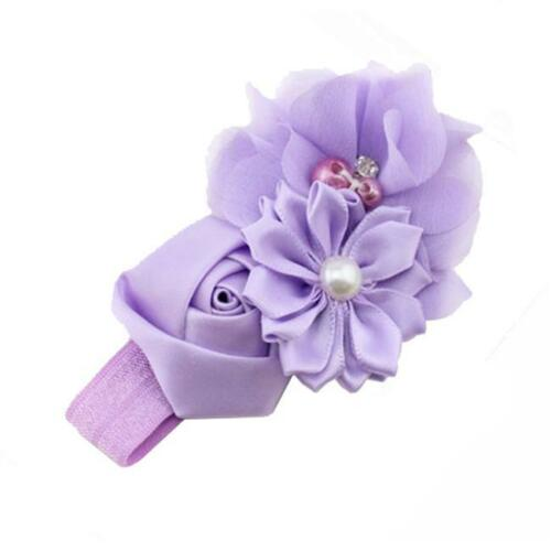 1PCS Cute Pearl Baby Infant Girl Toddler Lace Flower Headband Headwear Hair Band