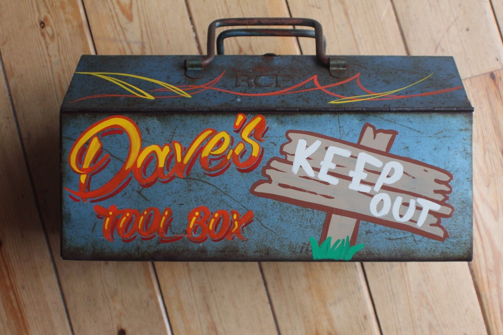 Pesonalised Handpainted Rusty Old Tool Box