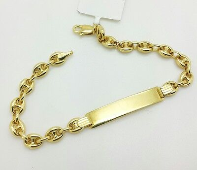 "14k Solid Yellow Gold Figaro Link Chain ID Plate Bracelet 6/"" Child Baby"