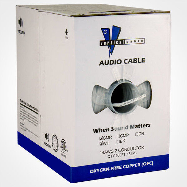Vertical Cable 1000ft 14 Gauge In-Wall Speaker Wire CL3 14//2 White Audio Theater