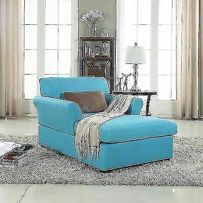 Divano Roma Furniture Large Classic Fabric Living Room Chaise Lounge Single Sofa Sky Blue For Sale Online Ebay