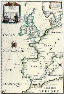 Vintage Antique Map Of Great Britain Europe Shabby Chic Canvas