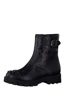 TAMARIS Damen Stiefel Boots Schuhe echt Leder Glitzer-Effekt Nieten