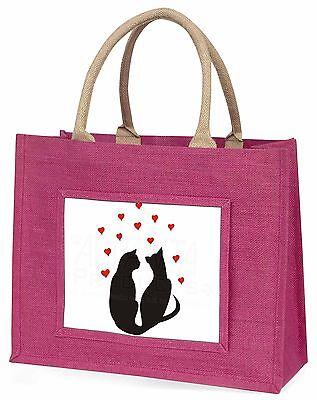zwei Katze Figur mit Herzen große rosa Einkaufstasche Weihnachten