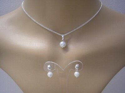 Simple Colour Pearl Necklace /& Stud Earrings Jewelry Set Girls Childs Ladies 15N