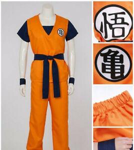 Cosplay Dragon Ball Son Goku  Kungfu Costume Wig Cotton Full Suit Japanese Anime