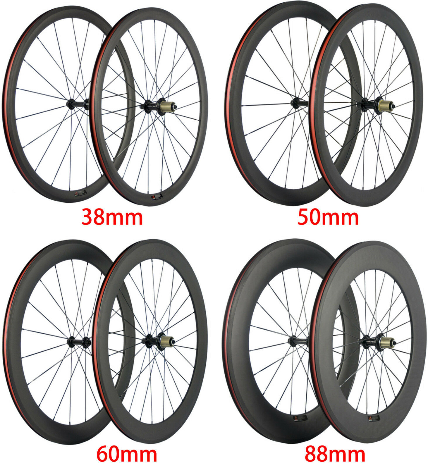 Carbon Wheels 38 50  60 88mm Depth Clincher Wheelset 700C 3k Matte 23mm Width  on sale