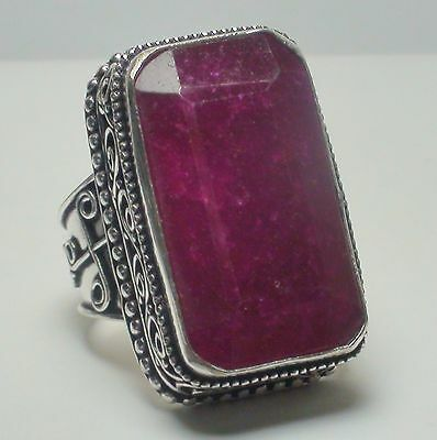 HUGE! 80 ct  NATURAL PRINCESS VICTORIAN CHERRY RED RUBY RING 925 SILVER.8.0
