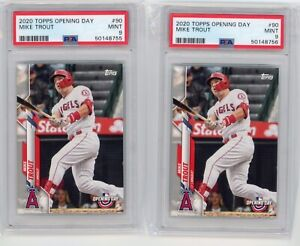 (2) Card Lot 2020 Topps Opening Day Mike Trout #90 PSA 9 Graded Baseball Card