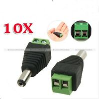 10pcs DC 5.5 x 2.1mm Power Male Jack Adapter Cable Plug Connector for CCTV LED