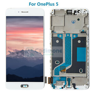 For-OnePlus-5-LCD-Display-Touch-Screen-Digitizer-Assembly-With-Frame-White-Tools